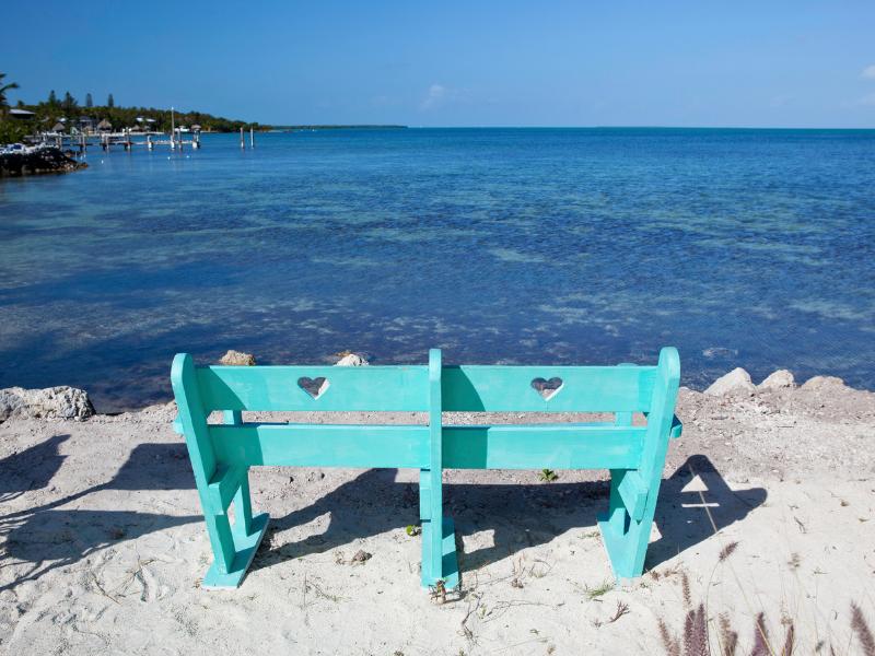 Key Largo Beach with bench